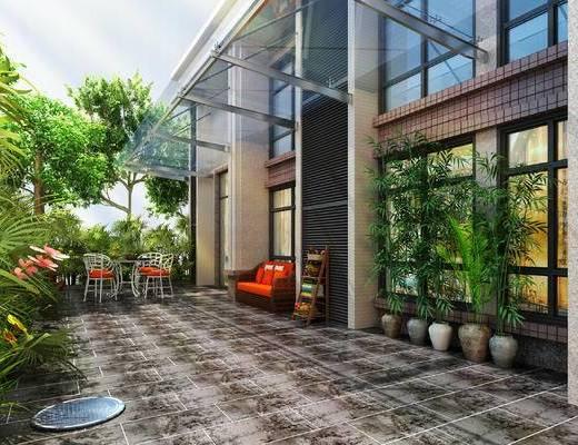 花园, 庭院, 室外, 植物, 盆栽, 园林