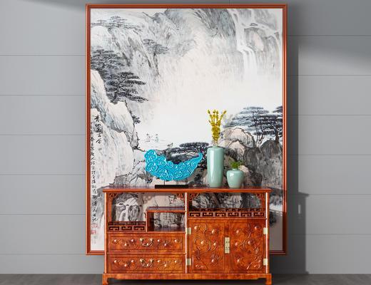 边柜, 中式, 陈设品, 装饰画, 花瓶, 摆件