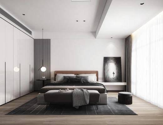 单人床, 衣柜, 吊灯, 床尾踏, 床头柜