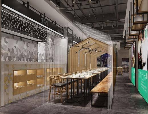 工业风餐厅, 多人餐桌, 单椅, 工业管灯, 工业风