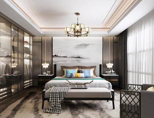 中式卧室, 新中式卧室, 卧室, 双人床, 中式双人床