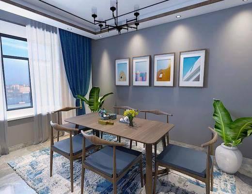 餐桌, 桌椅组合, 装饰画, 吊灯