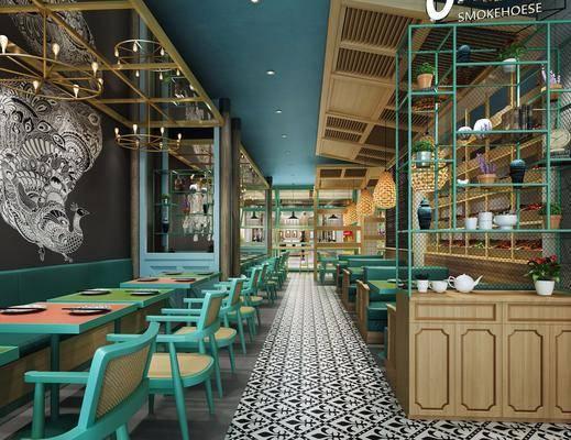 餐饮店面, 餐厅, 餐桌, 餐椅, 单人椅, 装饰柜, 装饰架, 吊灯, 装饰画, 挂画, 现代