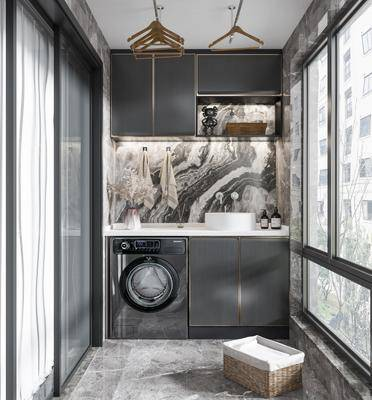 现代, 阳台, 洗衣机, 露台, 洗手台