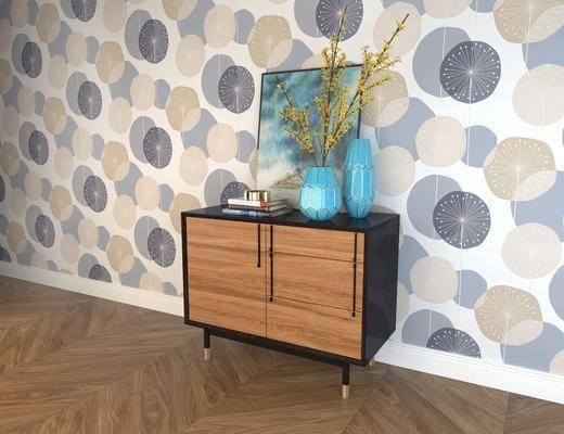 边柜, 摆件组合, 现代实木边柜