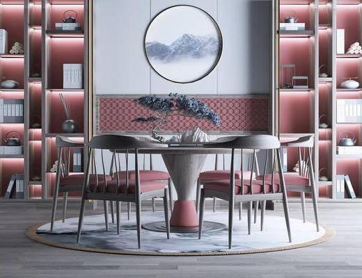 新中式, 桌椅组合, 餐厅