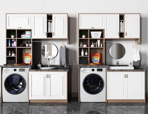 镜子, 洗衣机, 柜子, 衣服, 衣架, 洗涤用品