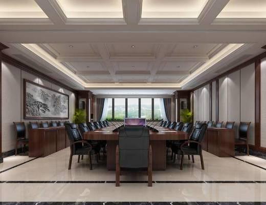 高端会议室, 皮质单人椅, 办公桌, 中式装饰画