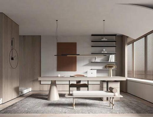 现代侘寂风书房, 书桌, 书柜, 吊灯
