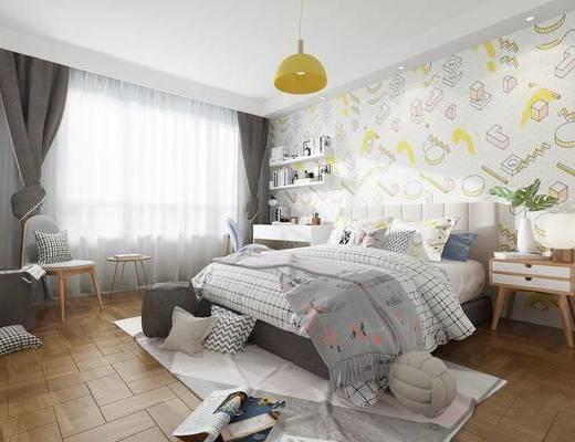 卧室, 双人床, 床头柜, 书桌, 单人椅, 吊灯, 摆件, 装饰品, 陈设品, 北欧简约
