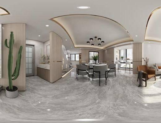 入户玄关, 沙发组合, 吊灯, 茶几, 抱枕, 餐桌, 墙饰