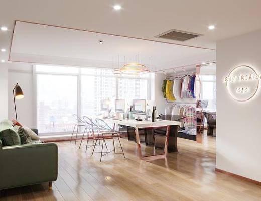 轻奢服装店, 衣架, 沙发, 现代服装工作室