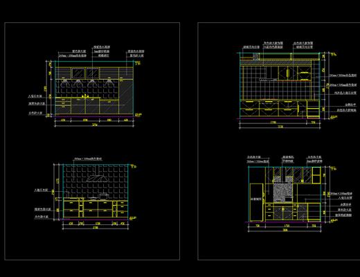 CAD, 家装, 厨房, 立面图, 下得乐3888套模型合辑