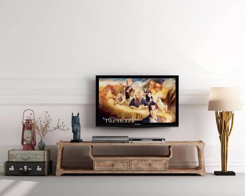 电视柜, 装饰柜, 陈设柜, 落地灯, 边柜, 中式