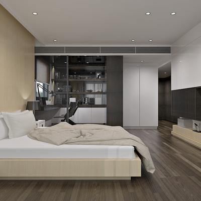 北欧卧室, 现代, 卧室, 北欧, 床, 床头柜, 电视柜, 书桌椅, 椅子