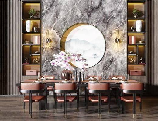 桌椅组合, 餐桌, 餐椅, 单人椅, 餐具, 花瓶花卉, 装饰柜, 摆件, 装饰品, 陈设品, 新中式