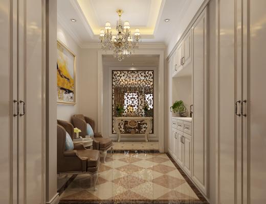客厅, 餐厅, 玄关, 走廊, 沙发组合
