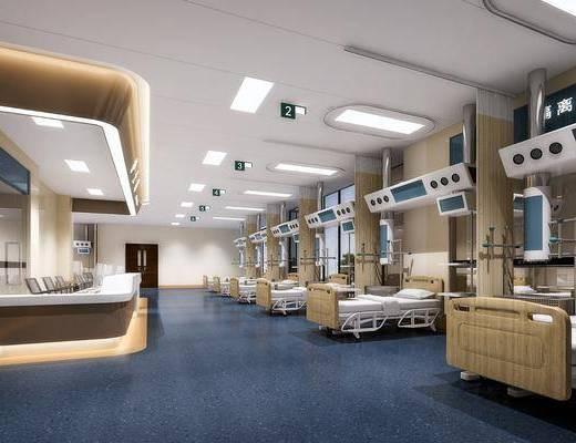 医院病房, 前台接待, 单人床, 现代