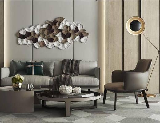 沙发组合, 双人沙发, 多人沙发, 落地灯, 单人沙发, 茶几, 墙饰, 摆件, 装饰品, 陈设品, 现代