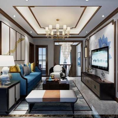 新中式客厅, 新中式沙发, 新中式, 中式, 客厅, 沙发组合, 电视柜, 茶几, 台灯, 吊灯, 壁灯