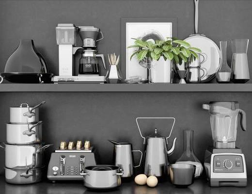 厨具组合, 碗碟, 咖啡机, 面包机, 水壶