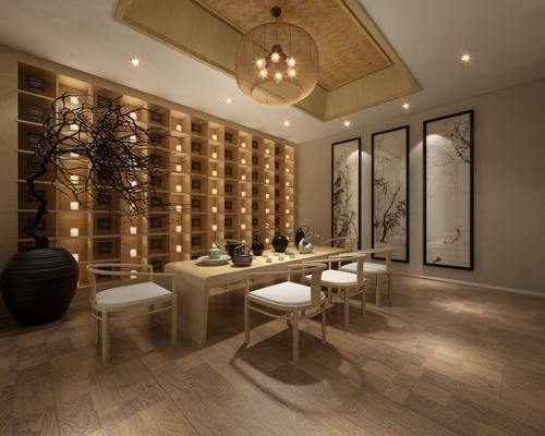 茶馆, 茶桌, 单人椅, 装饰画, 挂画, 吊灯, 装饰柜, 新中式