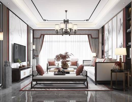 沙发组合, 背景墙, 单椅, 吊灯, 电视柜
