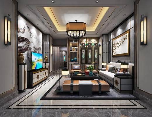新中式客厅, 新中式, 卧室, 中式沙发, 酒店套房