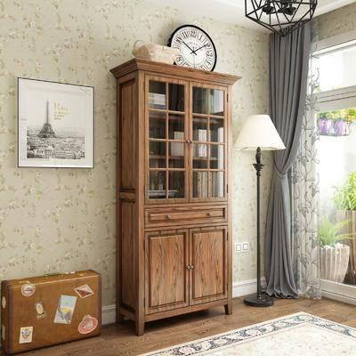 书柜, 柜架组合, 落地灯, 装饰画