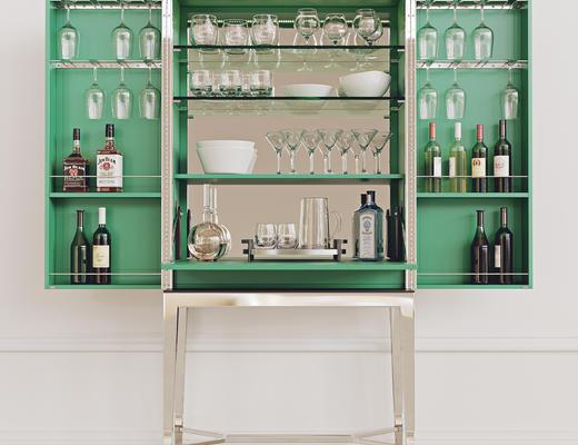 玻璃, 红酒, 酒柜, 饰品3d模型