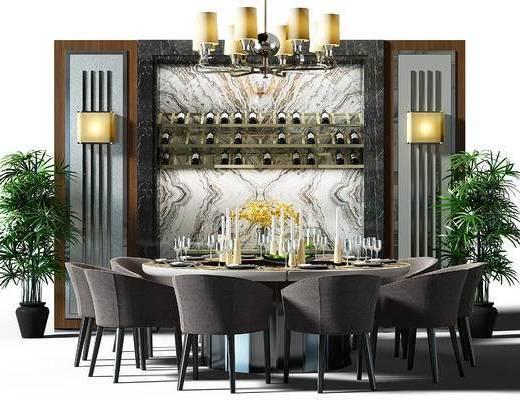 餐桌, 桌椅组合, 餐桌椅, 桌椅, 吊灯, 壁灯, 现代