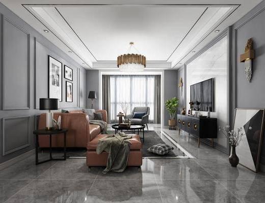 客厅, 餐厅, 现代客餐厅, 现代港式, 沙发组合, 擦肩, 摆件组合, 陈饰品, 壁灯, 电视柜, 桌椅组合, 吊灯, 单椅, 植物, 绿植, 现代