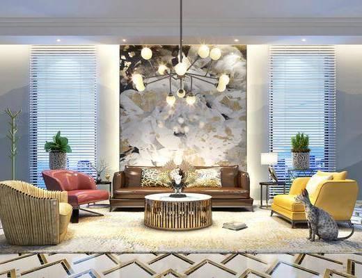 背景墙, 沙发组合, 吊灯, 茶几组合