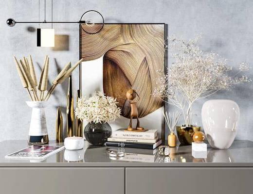 装饰品, 摆件组合, 装饰画, 花瓶, 吊灯