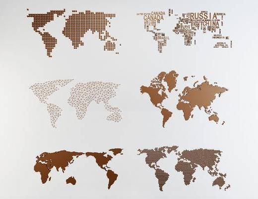 现代壁饰, 世界地图墙饰, 地图装饰, 墙面装饰, 世界地图