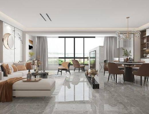沙发组合, 墙饰, 茶几, 餐桌, 吊灯, 单椅