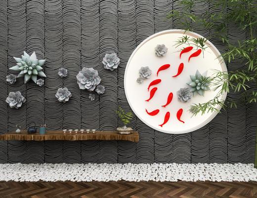 新中式, 景观, 鱼, 多肉