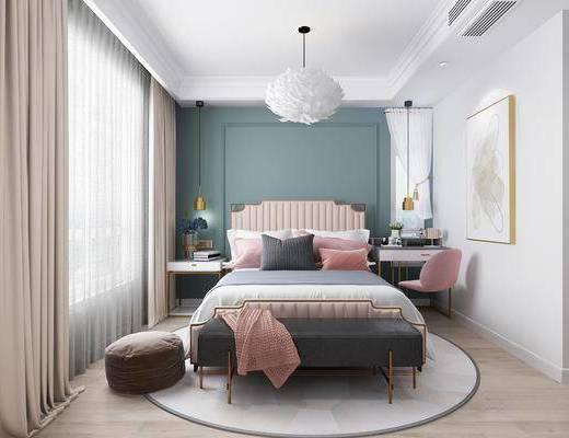 现代卧室, 北欧卧室, 北欧床具, 双人床, 床尾踏, 吊灯, 挂画, 边几, 摆件, 椅子, 梳妆台