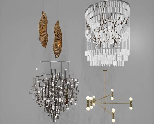 新中式吊灯, 吊灯, 水晶吊灯, 金属吊灯