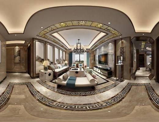 客厅, 餐厅, 家装全景, 沙发组合, 沙发茶几组合, 边柜组合, 新中式客餐厅