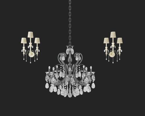 吊灯, 壁灯, 欧式, 简欧, 水晶吊灯, 灯, 灯具