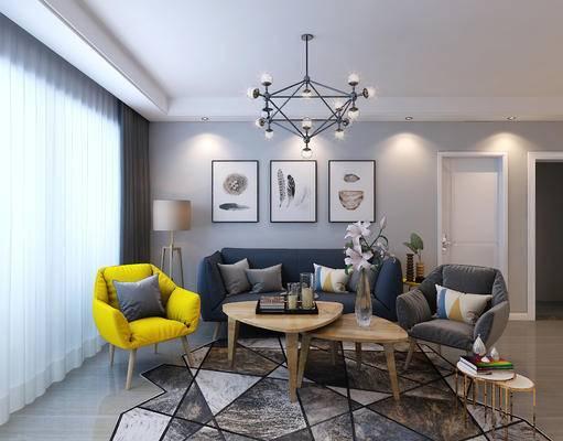 北欧客厅, 北欧沙发, 客厅, 沙发组合, 吊灯, 装饰画