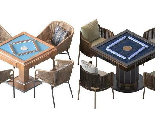 现代, 麻将桌, 休闲椅, 藤椅