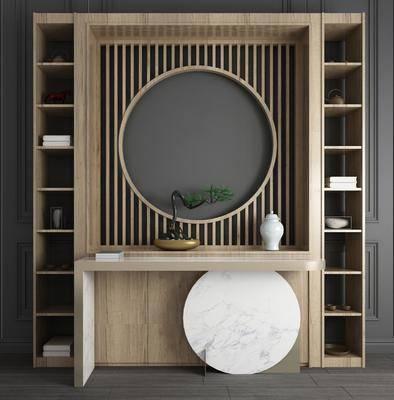 玄关柜, 边柜, 端景台, 屏风, 装饰柜, 摆件, 装饰品, 陈设品, 盆栽, 绿植植物, 新中式