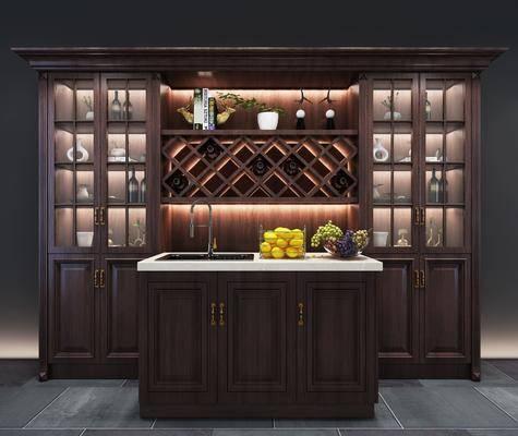 酒柜, 中島臺, 裝飾柜, 擺件組合, 美式