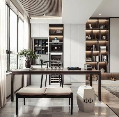 茶桌, 茶室, 茶具组合, 电器, 书柜