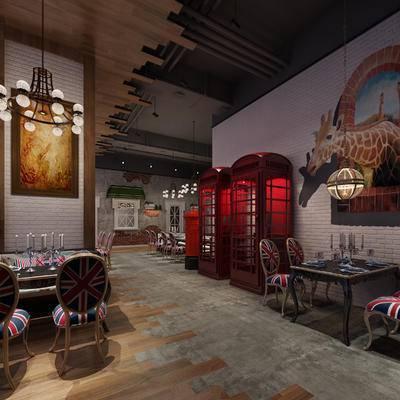 餐厅, 餐桌椅, 桌椅组合, 电话亭, 吊灯, 餐饮
