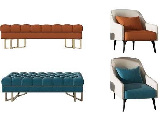 沙发, 组合, 沙发凳