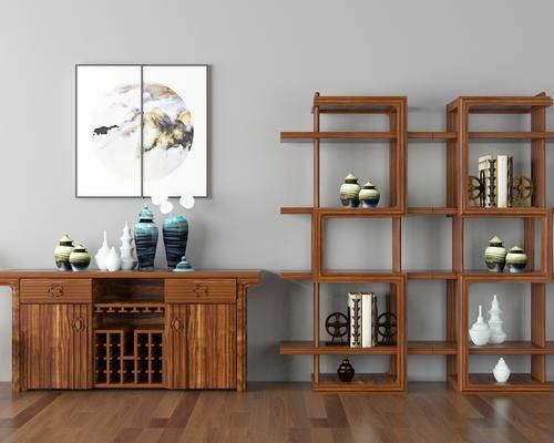 柜架组合, 新中式柜架组合, 新中式, 青花瓷, 摆件, 装饰画, 瓷器, 装饰品