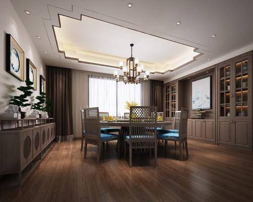 圆形餐桌椅, 餐具组合, 盆栽组合, 绿植植物, 装饰柜组合, 摆件组合, 新中式